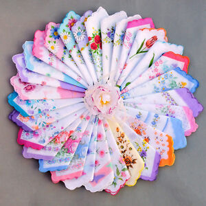 20-MIXED-WHOLESALE-LOT-ASSORTED-WOMEN-VINTAGE-COTTON-HANDKERCHIEF-HANKY-FLOWER