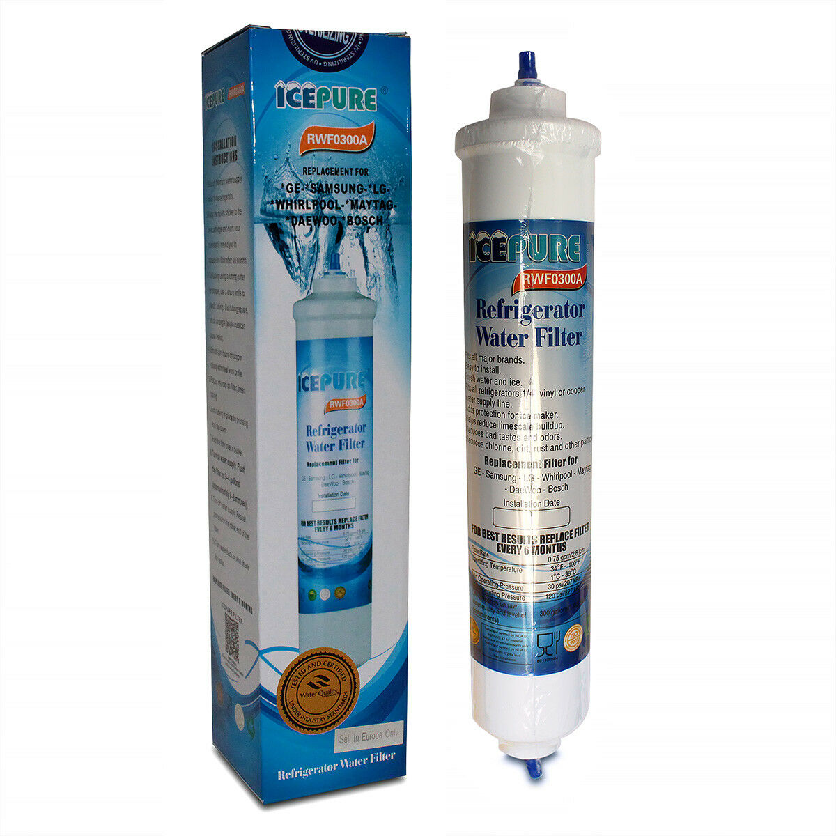 Icepure Rfc0300a Universal Inline Refrigerator Water Filter Quick Fitting 8