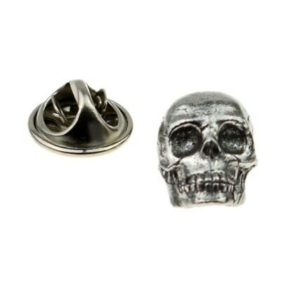Pewter Skull Head Pin Badge Tie Pin, Lapel Pin Badge - XWTP119