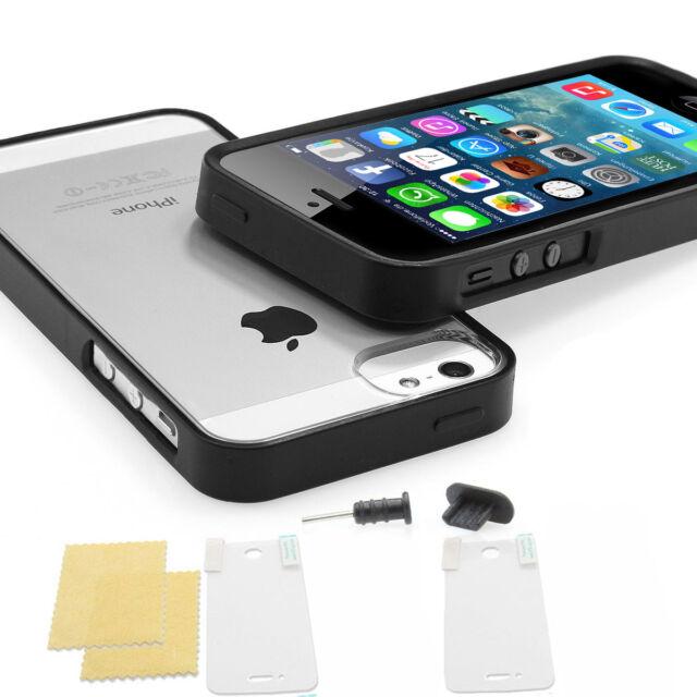 Apple iPhone 5s 5 SE TPU Bumper Crystal Case Silikon Schutz Hülle Cover schwarz