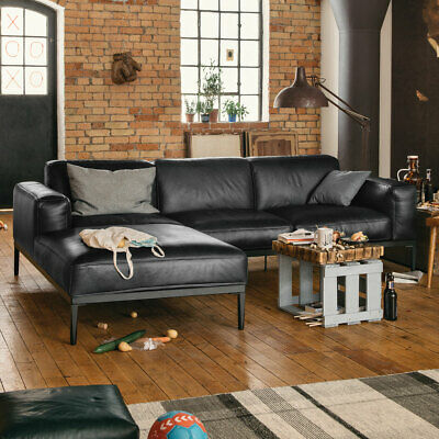 Ecksofa Leder schwarz Longchair links Sofa Freistil 167 ROLF BENZ