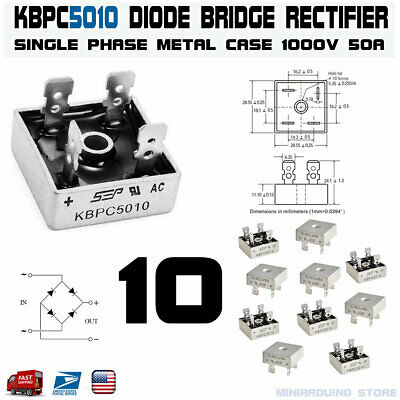 10pcs Kbpc5010 Diode Bridge Rectifier Single Phase Metal Case 1000v 50a Usa