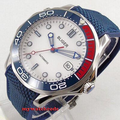 41mm bliger white dial sapphire glass blue ceramic bezel automatic mens watch