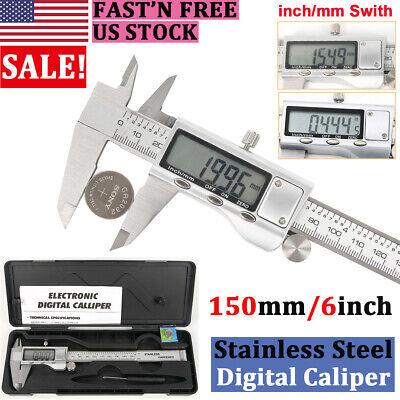 Full Stainless Steel Lcd Digital Caliper Vernier Micrometer Gauge Meter Ruler Us
