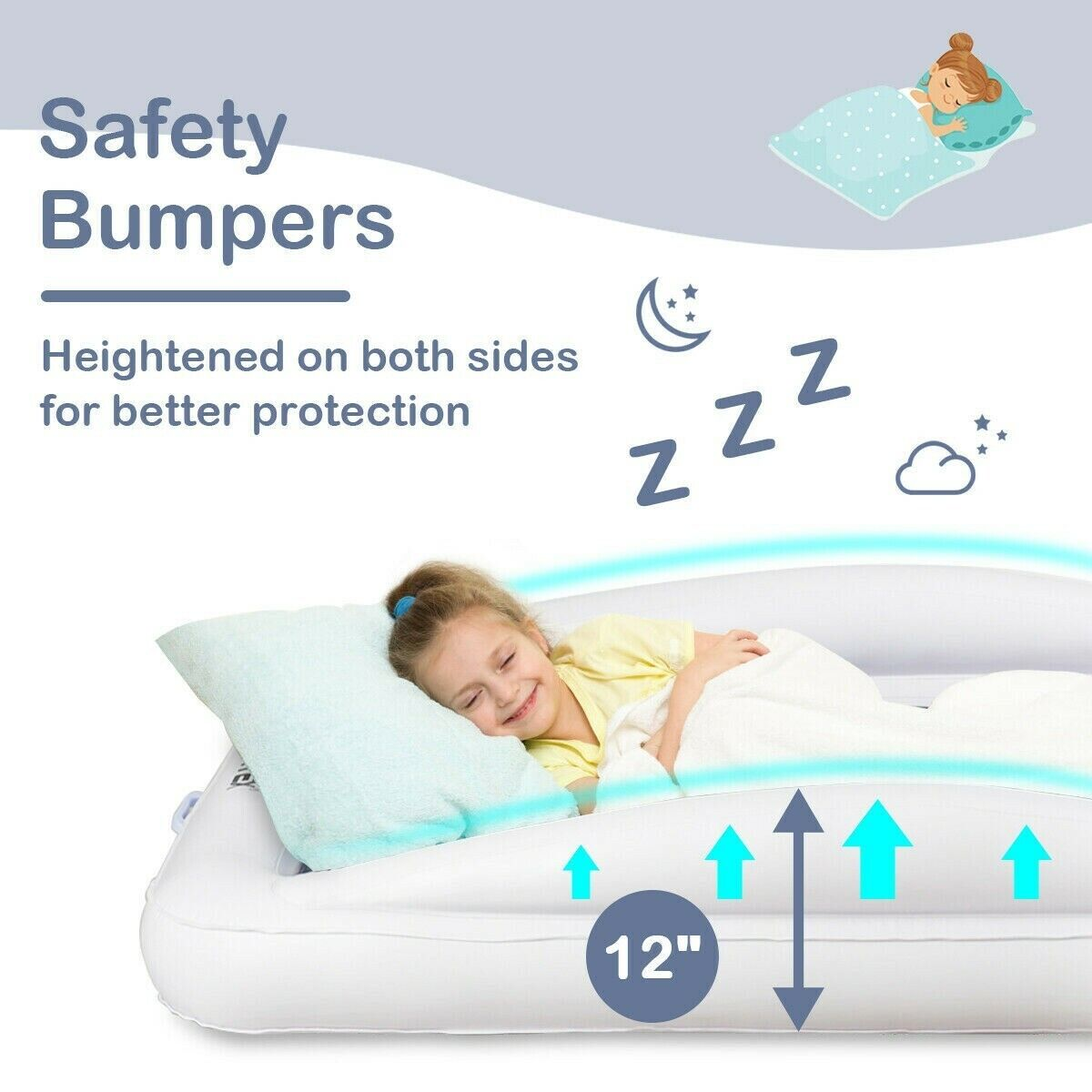 Inflatable Toddler Bed with Bumpers Removable Mattress