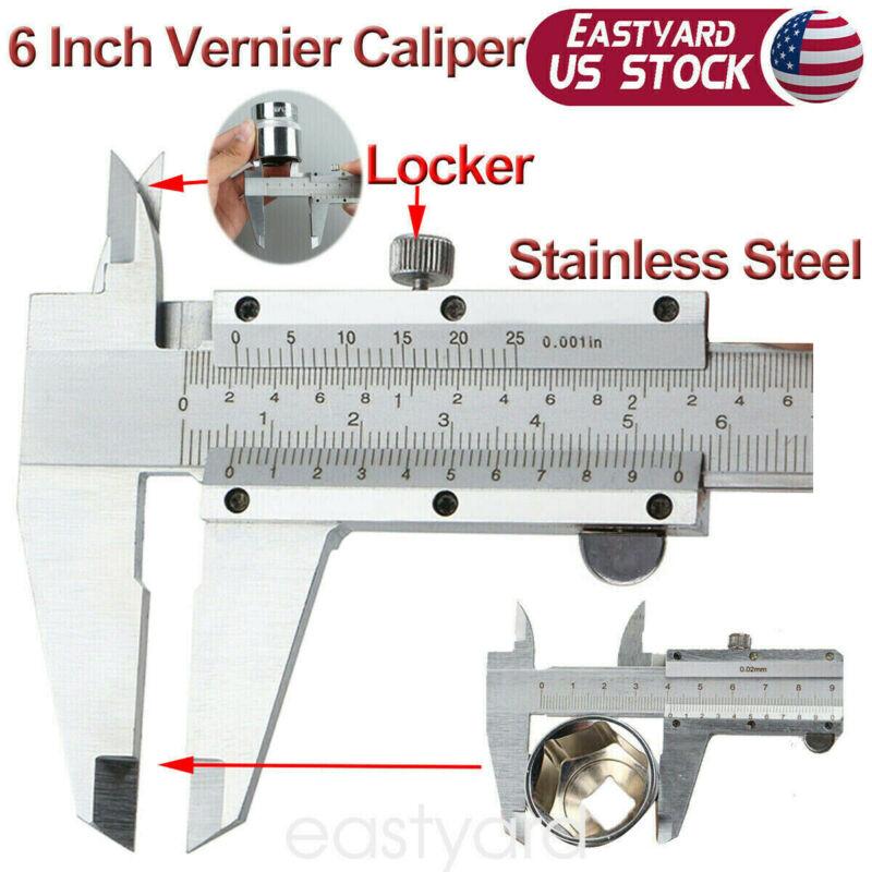 6 Inch Stainless Steel Vernier Caliper Micrometer Gauge Inch Range Tools 150mm