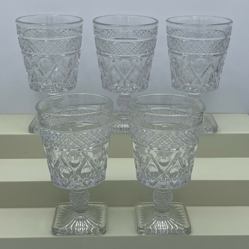 """Vintage Imperial Glass Cape Cod Clear Water Goblets, 5 1/2"""" tall, lot of 5"""