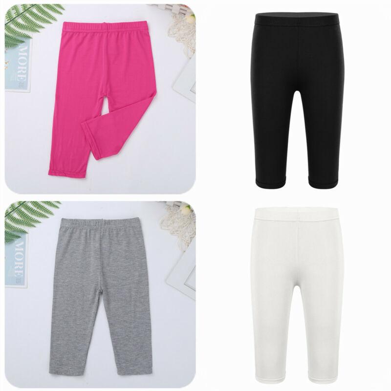 Cropped Children 3//4 Leggings Lace Modal Basic Plain Kids Capri Pants Age 2-7
