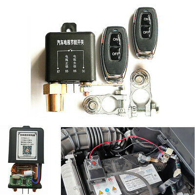 Integrated Car Battery Disconnect Isolator Switch Relay+Wireless 2Remote Control