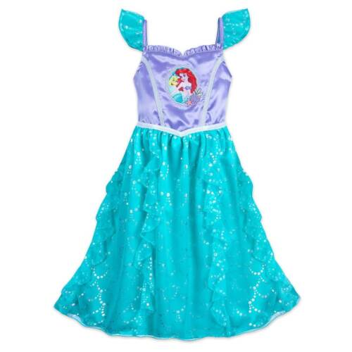 NWT Disney Store Ariel Deluxe Nightgown Costume 4,5/6,7/8,9/10 Girls Flounder