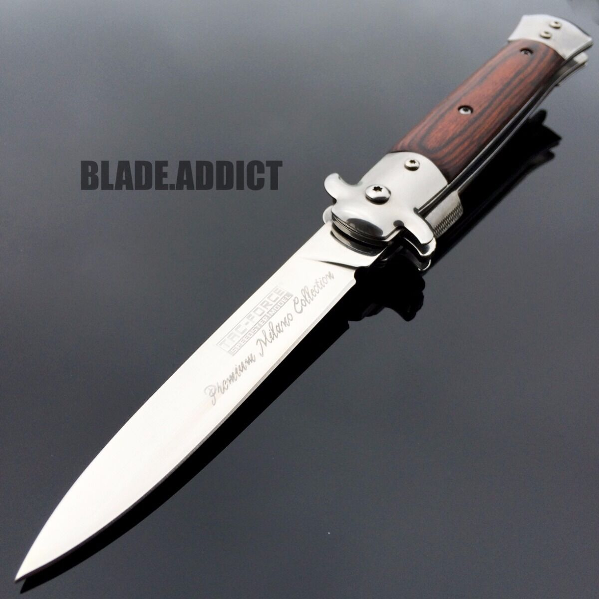 "Knife - 9"" TAC FORCE Italian MILANO Stiletto Spring Assisted Open Pocket Knife Classic"