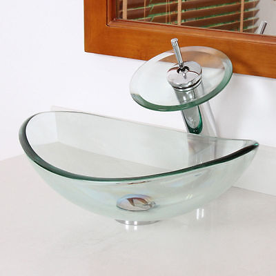 Oval Clear Tempered Glass Bathroom Vessel Sink & Waterfall Faucet Chrome Drain