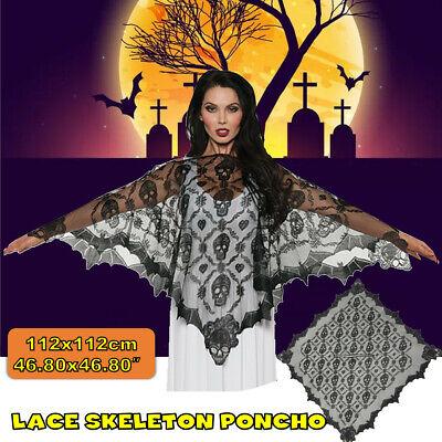 Halloween Party Schal Schädel Spitze Mantel Spider-Web Skelett Maskerade