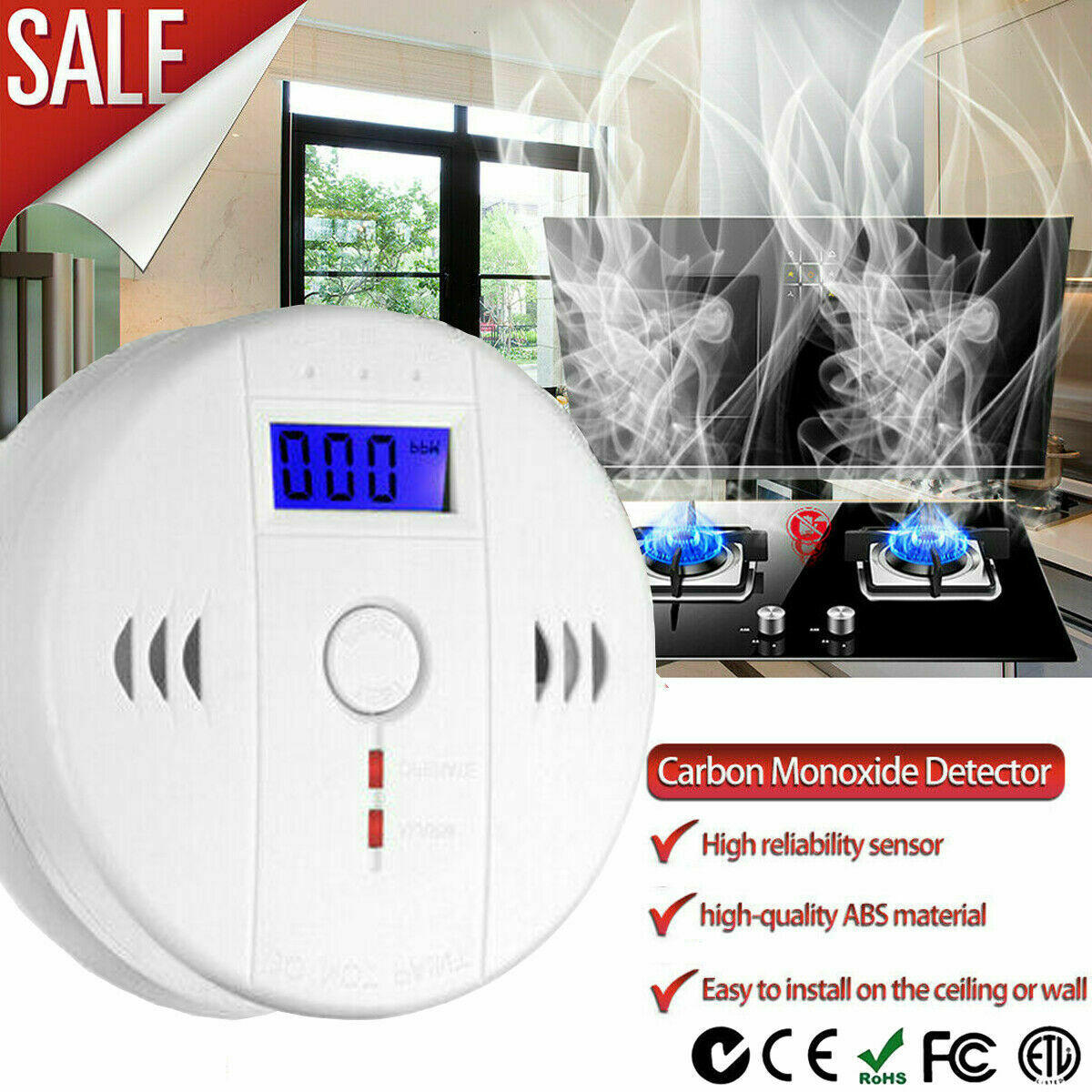 LCD CO Carbon Monoxide Gas Detector Home Security Tester Ala