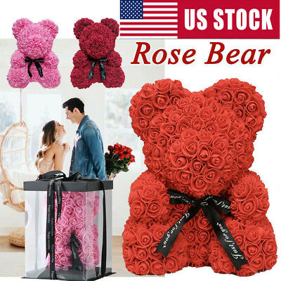 Love Rose Flower Bear With Box Valentine Wife Girlfriend Birthday Gift Wedding](Valentine Day Bears)