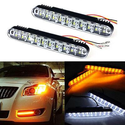 2X 30 LED Daytime Running Light DRL Daylight Kit Fog lights + Amber Turn Signal