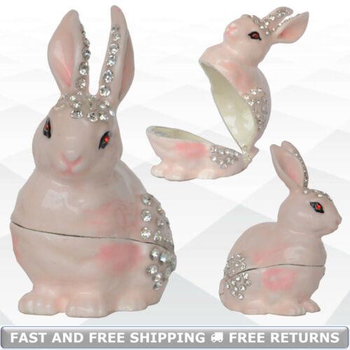 Pink Rabbit Bunny Animal Hinged Trinket Box With Lid Jeweled Rhinestone Ornament