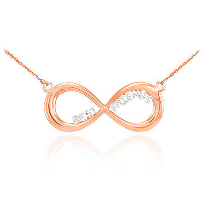 14K 2-Tone Rose Gold Infinity Necklace with BEST FRIENDS -