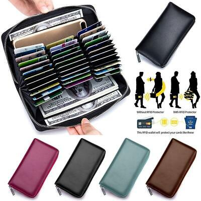 Men Women RFID Genuine Leather Wallet Clutch Long Purse Credit ID Card -