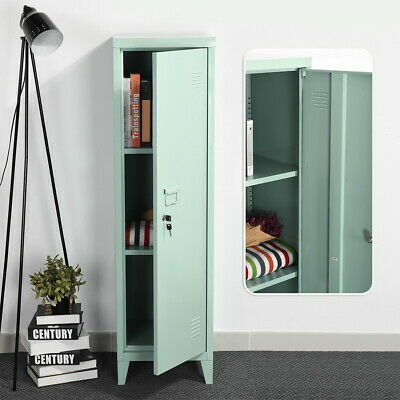 Kid Storage Cabinet Metal Locker W Shelves Office School Gym Closet 54.1h