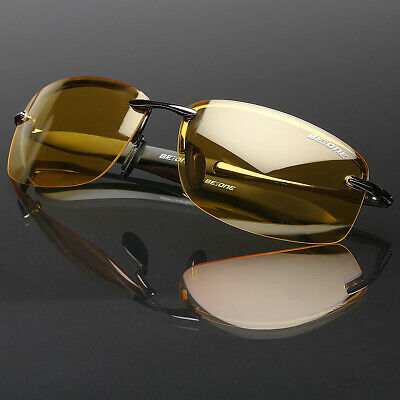Polarized Men Sunglasses Night Vision anti glare Driving Fishing Yellow Glasses (Night Sunglasses For Men)