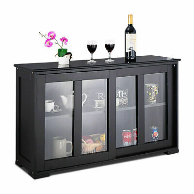 2-Layer Storage Cabinet Sideboard Cupboard Glass Sliding Door Pantry Kitchen ()
