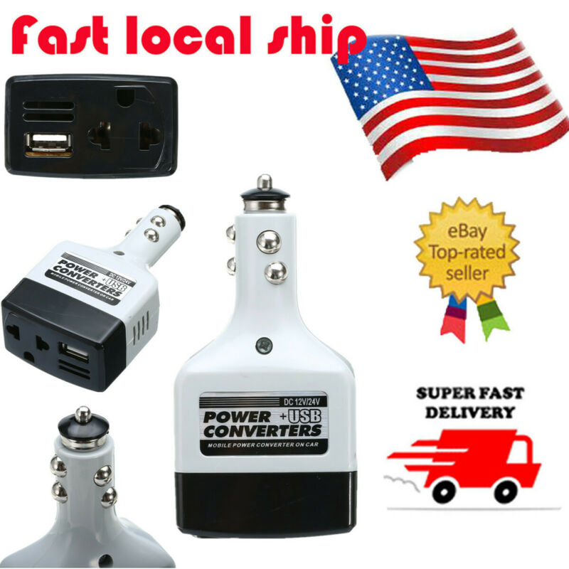 Portable Car Power Inverter USB Charger Adapter DC 12V/24V t