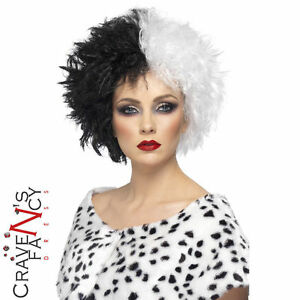 Evil-Madame-Cruella-Wig-Black-White-Ladies-Womens-Fancy-Dress-Costume-Outfit