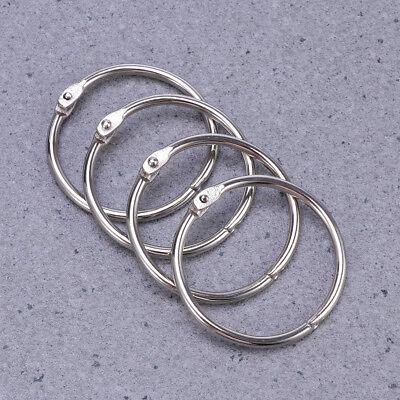 10pcs Silver Metal Loose Leaf Binder Hinge Snap Rings Schoolofficecraft Use