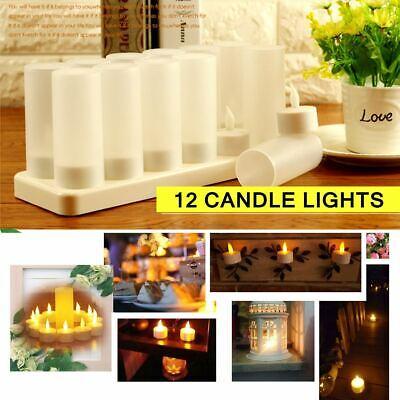 Ricaricabile 12 LED Candela Tremolante Tea Light Senza Fiamma Casa Decorazione