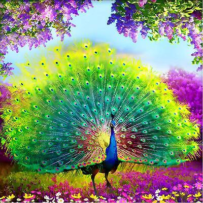 DIY 5D Diamond Embroidery Painting Flower Peacock Mosaic Cross Stitch Home Decor
