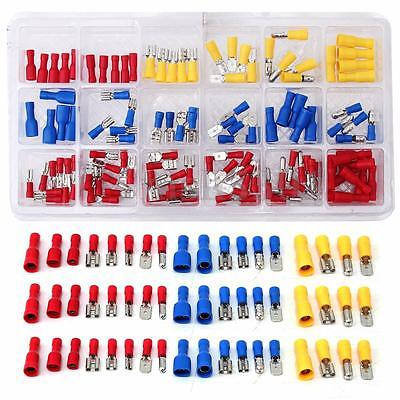 120pcs Assorted Crimp Butt Terminal Insulated Electrical Wire Connector Set Case