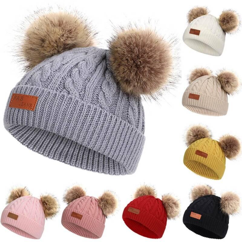 Kids Girl Boys Warm Winter Knit Beanie Faux Fur Double Pom P