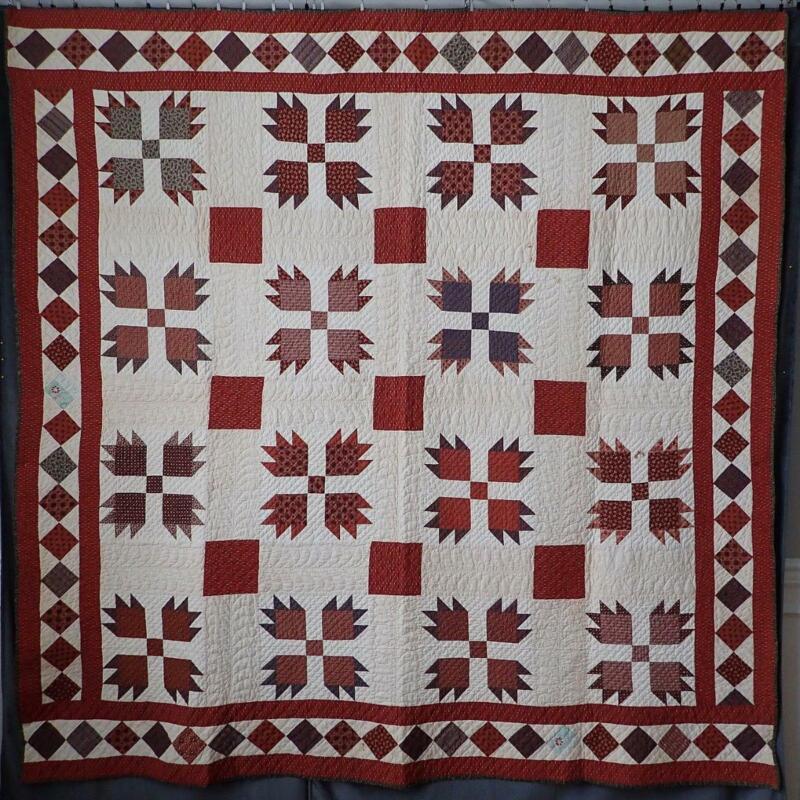"Glorious! c1860-1880 Antique Bear Paw QUILT 81x80"" Most Beautiful Fabrics"