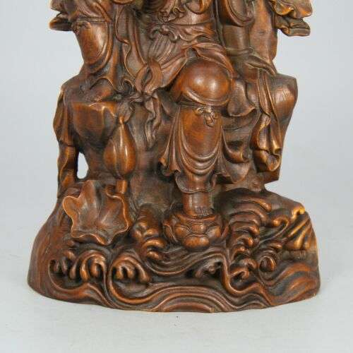 Details about  /Chinese Exquisite Hand-carved Guanyin Boxwood statue