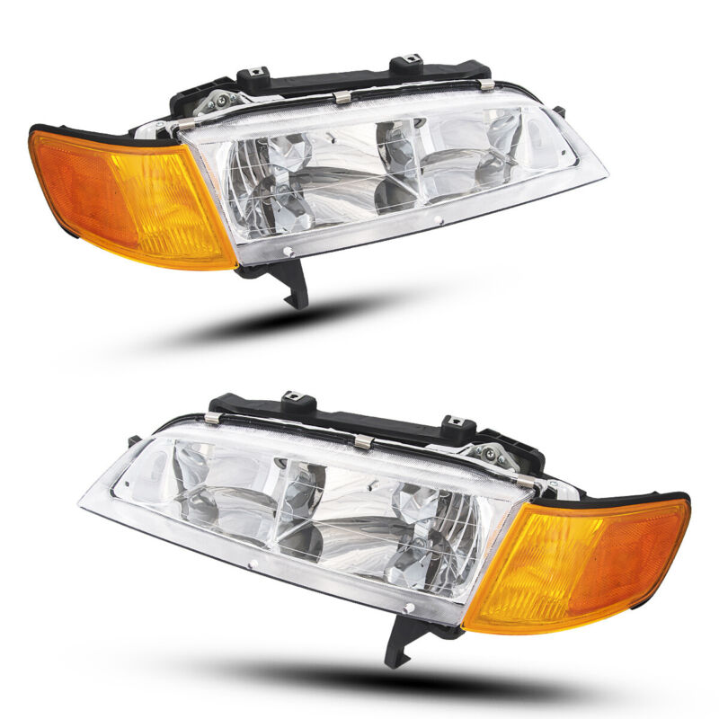 For 94 95 96 97 Honda Accord Black Headlights Assembly Left + Right Headlamps