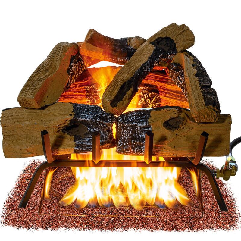 """Premium Vented 18""""inch Natural Gas Log Set Flame Burner Ember Glowing 45000 BTU"""