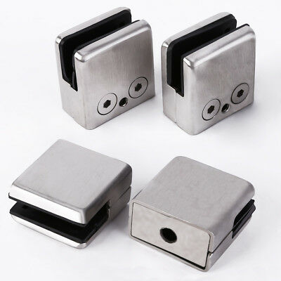4x 304 Stainless Steel Square Clamp Holder Bracket Clip Glass Shelf covid 19 (Steel Square Glass Clamp coronavirus)