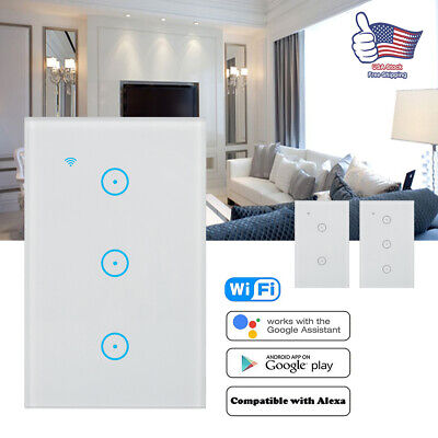 Smart WiFi Wall Touch Switch Light Dimmer With Alexa Google APP Voice Control (Touch Wall Control)