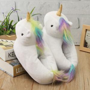 69c3dea6204b 3D Unicorn Slippers Plush Soft Warm Winter Shoes Fluffy Unisex Cartoon Cute
