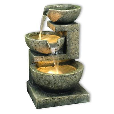 Kyoto Three Bowl Cascade Garden Patio Water Feature with Lights