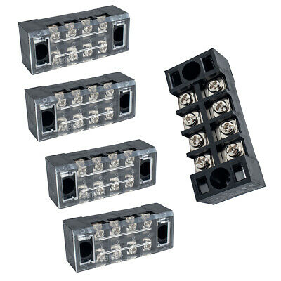 5 Pcs Dual Row Tb-1504 Screw Terminal Electric Barrier Strip Block 600v 15a