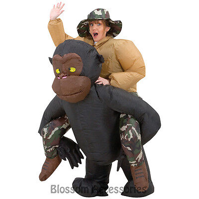 CL257 Airblown Inflatable Illusion Gorilla Rider Riding Mens Funny Adult Costume, used for sale  Shipping to Canada