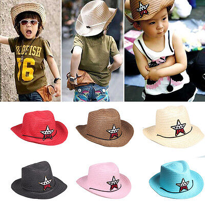 Boys Girls Kids Straw Western Cowboy Cowgirl Hat Stars Sun Cap Applique Headwear - Cowboy Hats Kids