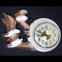 Vintage Burwood USA New Haven Quartz Molded Plastic Flying Geese Wall Clock