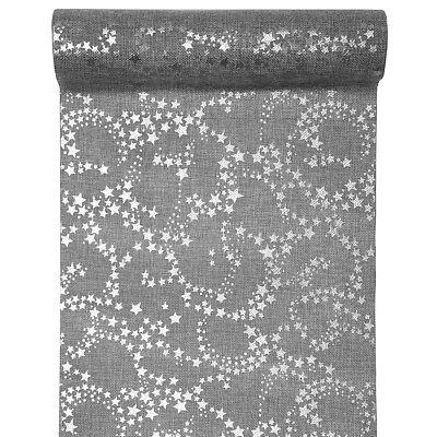 (3,65 €/m) Tischläufer Sterne grau/silber Jute 28 cm x 3 m Weihnachten Advent