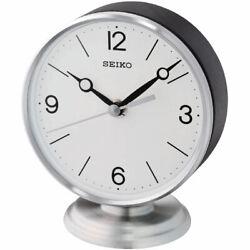 Seiko Desk and Table Clock Braxton Black and Silver Tone Case QXG150SLH