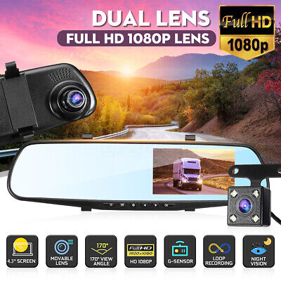 "4.3"" Dual Lens HD 1080P Car DVR Dash Cam Rearview Mirror Camera Video"