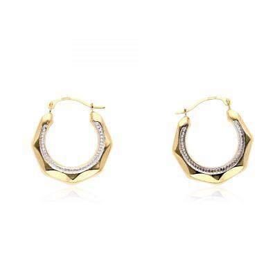 14k White Gold Hinged Hoop Earrings - 14k Yellow & White Gold Milgrain Creole Style Hinged Snapback Hoop Earrings