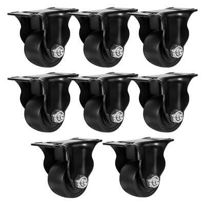 8 Pack 1.5 Inch Low Profile Black Rigid Heavy Duty Polyurethane Casters Wheels